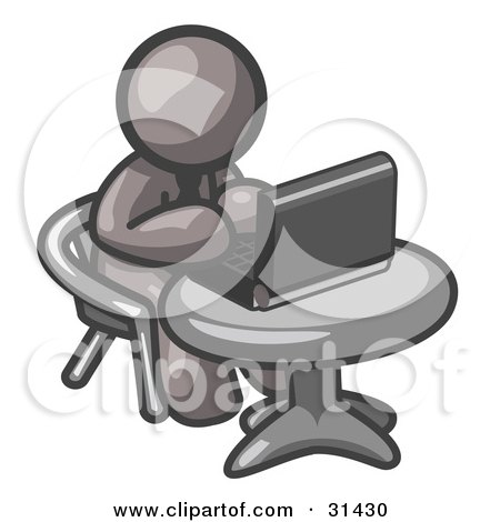 Clipart Illustration of a Gray Man Working On A Laptop Computer On A Table by Leo Blanchette