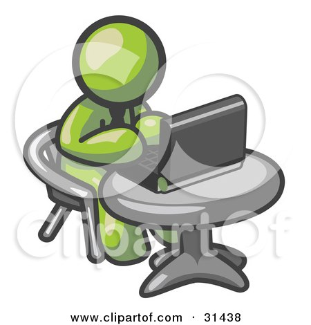 Clipart Illustration of an Olive Green Man Working On A Laptop Computer On A Table by Leo Blanchette