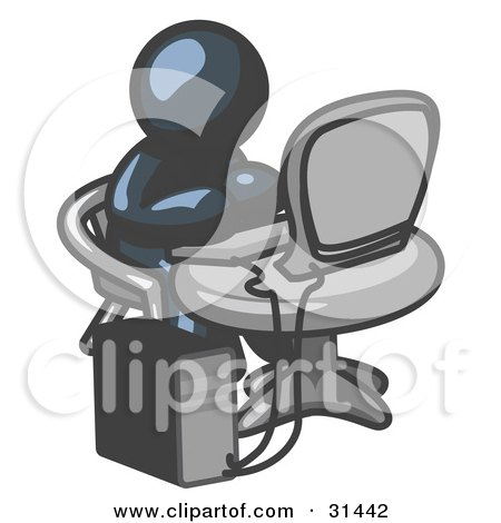 Clipart Illustration of a Navy Blue Man Working On A Desktop Computer On A Table by Leo Blanchette