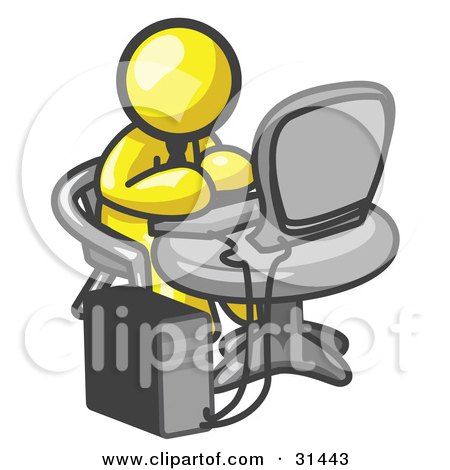 Clipart Illustration of a Yellow Man Working On A Desktop Computer On A Table by Leo Blanchette
