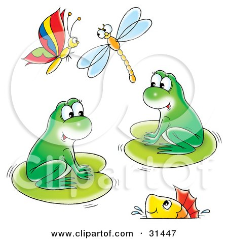 Clipart Illustration of Two Cute Green Frogs On Lily Pads With A Fish Swimming In The Water And A Butterfly And Dragonfly Flying Above by Alex Bannykh