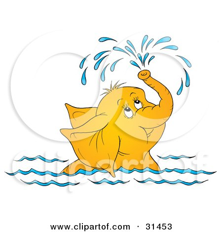 Clipart Illustration of a Cute Elephant Swimming And Showering Itself With A Spray Of Water From Its Trunk, On A White Background by Alex Bannykh