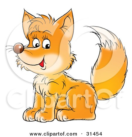 Clipart Illustration of a Friendly Young Fox Kit Sitting And Glancing At The Viewer by Alex Bannykh