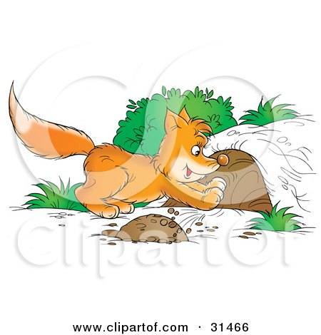 Clipart Illustration of a Fox Kit Digging A Den Out Of A ...