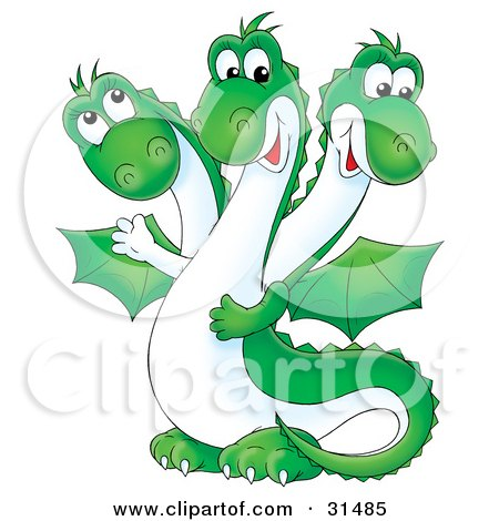 Friendly Green Three Headed Dragon With A White Belly And Wings Posters, Art Prints