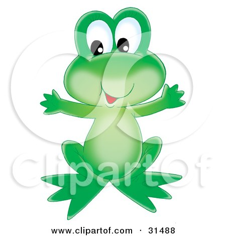 Clipart Illustration of a Cute And Friendly Green Frog Holding Its Arms Out by Alex Bannykh