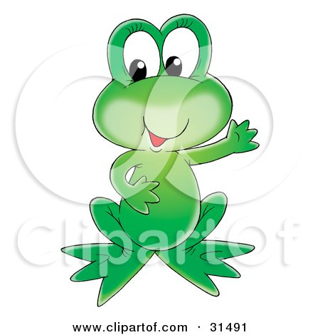 Clipart Illustration of an Adorable Green Frog Holding One Arm Out by Alex Bannykh
