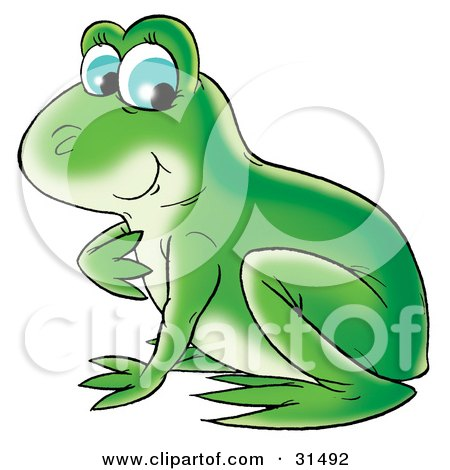 Clipart Illustration of a Pretty And Cute Green Frog With Blue Eyes by Alex Bannykh