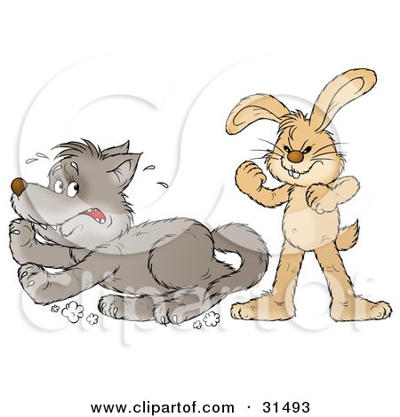 Clipart Illustration of a Tough Bunny Rabbit Standing Up To A Scared Wolf by Alex Bannykh