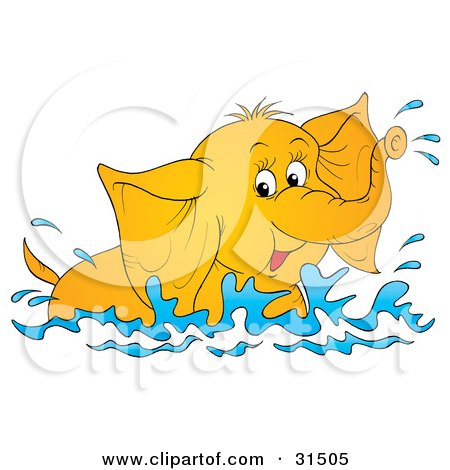 Clipart Illustration of a Playful Elephant Swimming And Splashing In Water, On A White Background by Alex Bannykh