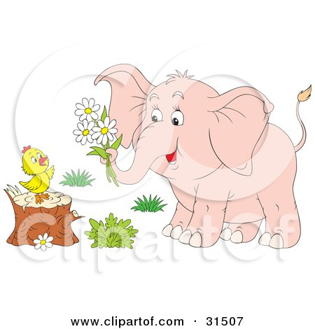 Clipart of a Black and White Cute Elephant with a ...