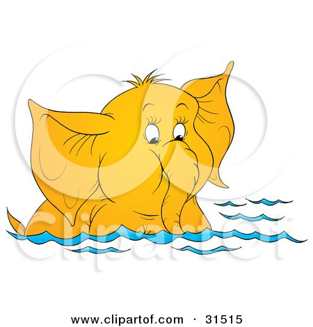 Clipart Illustration of a Cute Elephant Swimming And Sucking Water Up Through Its Trunk, On A White Background by Alex Bannykh