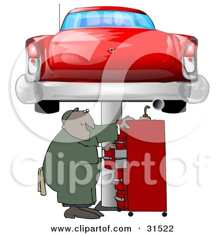 Clipart Illustration of a Black Male Mechanic Looking For Tools In A Red Tool Box, Under A Red Classic Car Up On A Lift In A Garage by djart
