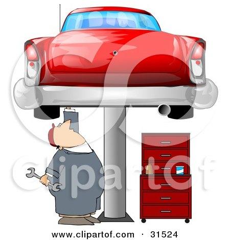 Clipart Illustration of a White Male Mechanic Holding A Wrench And Working On A Red Classic Car Up On A Lift In A Garage by Dennis Cox