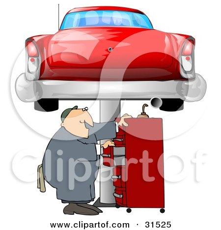 Clipart Illustration of a White Male Mechanic Looking For Tools In A Red Tool Box, Under A Red Classic Car Up On A Lift In A Garage by djart