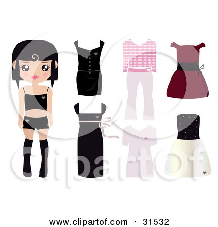 Clipart Illustration of a Black Haired Paper Doll Girl Wearing Undergarments, With Dresses, And Outfits To The Right by Melisende Vector