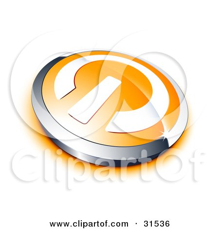 Clipart Illustration of a White Power Symbol On An Orange Electronics Button, Bordered By Chrome, With An Orange Shadow by beboy