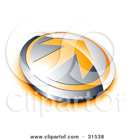 Orange Arrow On A Chrome Button With An Orange Shadow Posters, Art Prints