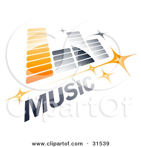 Clipart Illustration of an Orange And Gray Music Equalizer With Stars And MUSIC Text by beboy