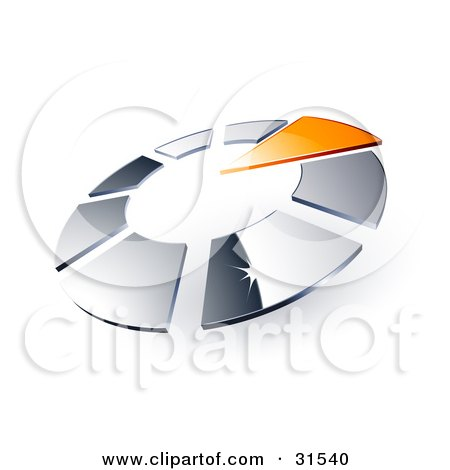 Clipart Illustration of a Circle Of Chrome Squares And One Orange Triangle Pointing Inwards, Resembling A Timer by beboy