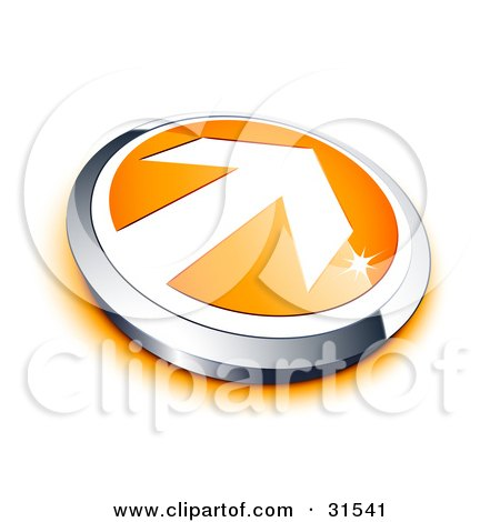 Clipart Illustration of a White Arrow On An Orange Button With A Chrome Border And Orange Shadow by beboy