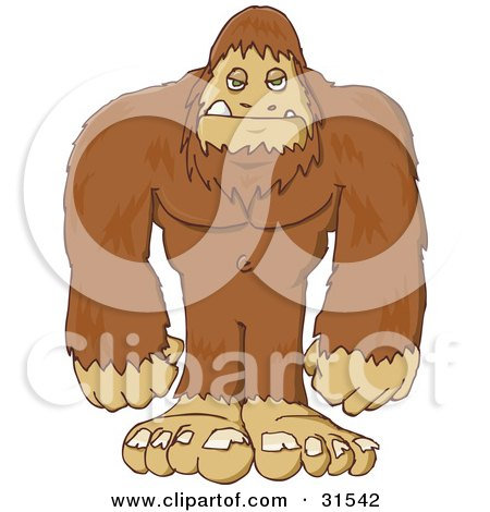 Clipart Illustration of a Big Hairy Sasquatch Or Big Foot, Standing And Facing Front by PlatyPlus Art