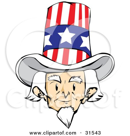 Clipart Illustration of a Senior White Haired Man, Uncle Sam, Facing Front And Wearing A Patriotic Hat by PlatyPlus Art