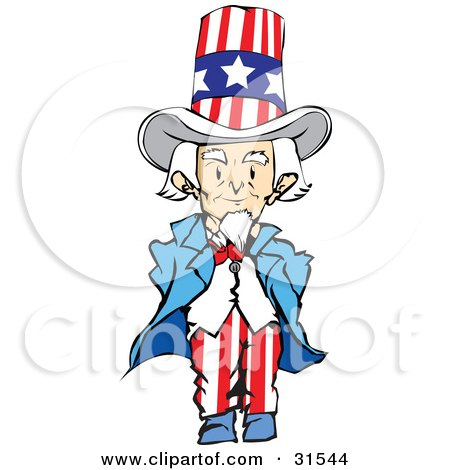 Clipart Illustration of a Patriotic Senior Man, Uncle Sam ...