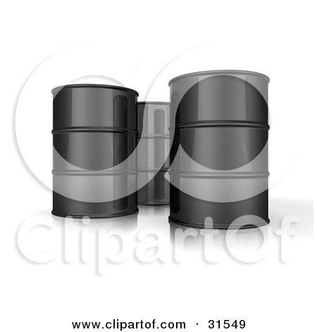 Clipart Illustration of Three 3d Black Barrels Of Oil by Frog974