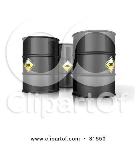 Clipart Illustration of 3d Black Barrels Of Oil With Yellow Labels by Frog974
