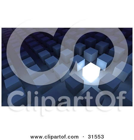 Clipart Illustration of One Illuminated Cube Standing Out In A Crowd Of Blue Cubes, Symbolizing Inspiration, Leadership And Creativity by Tonis Pan
