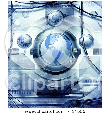 Clipart Illustration of Planet Earth In A Futuristic Science Machine, With Blue Grunge Texture by Tonis Pan