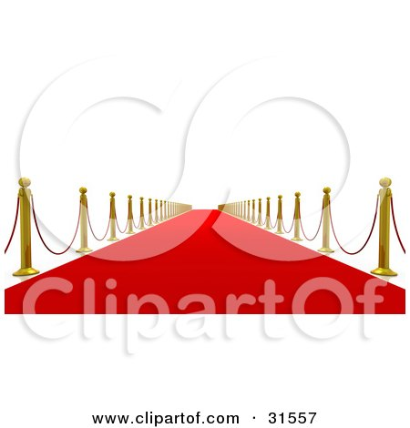 Clipart Illustration of a Golden Posts And Red Ropes Along A Straight Red Carpeted Path Leading Into The Future, Symbolizing Success And Fame by Tonis Pan