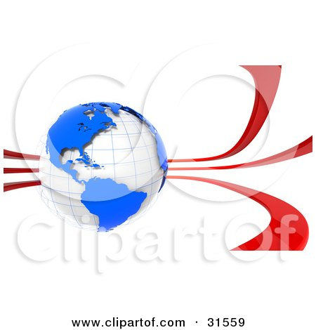 Clipart Illustration of a White Globe With Blue Continents, Surrounded By Red Waves, Symbolizing Communication., Pollution, Or Travel by Tonis Pan