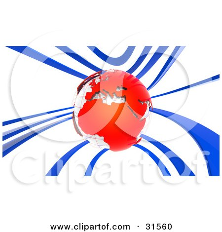 Clipart Illustration of a White Globe With Red Continents, Surrounded By Blue Waves, Symbolizing Communication Or Travel by Tonis Pan