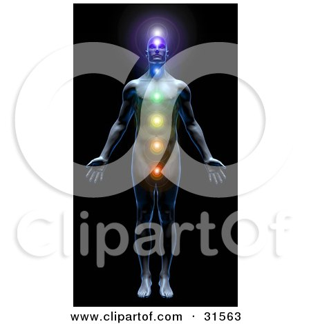 Clipart Illustration of a Male Body With All Seven Chakras Activated And Illuminated, Symbolizing Peace, Self, Health And Meditation by Tonis Pan