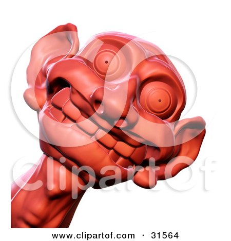Clipart Illustration of a Red Sculpted Goblin Head With Big Ears, Grinning Foolishly by Tonis Pan