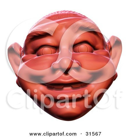 Clipart Illustration of a Happy Smiling Red Sculpted Head Resembling An Ogre by Tonis Pan