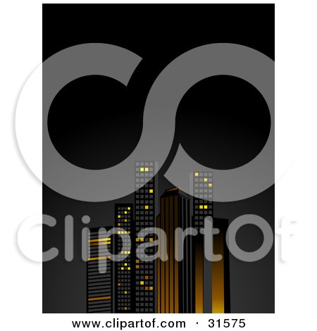Tall City Skyscrapers Illuminated In Orange And Yellow Lights, Against A Night Sky  Posters, Art Prints