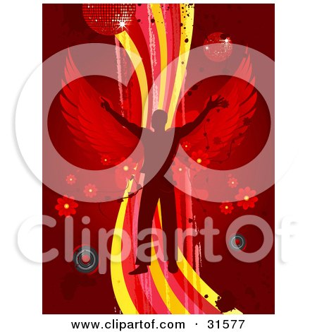 Clipart Illustration of a Silhouetted Man With Red Wings, Dancing On A Wave Of Yellow, Pink And Red On A Red Background With Splatters, Speakers, Flowers And Disco Balls by elaineitalia