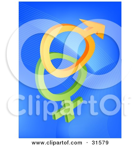 Clipart Illustration of a Orange And Green Male And Female Sex Symbols On A Blue Background With Faint Waves, Symbolizing Fertility by elaineitalia