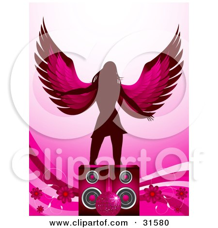 Clipart Illustration of a Winged Silhouetted Woman Dancing Behind Speakers With Flowers, Waves And A Pink Disco Ball by elaineitalia