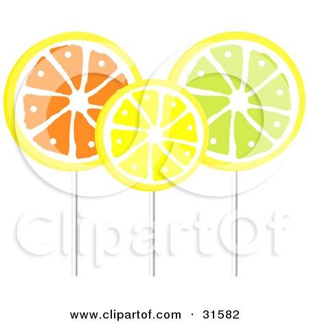 Clipart Illustration of Three Orange, Lemon And Lime Flavored Loli Pops On Sticks by elaineitalia