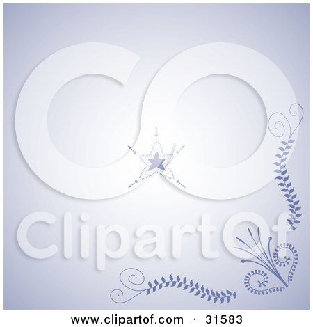 Clipart Illustration of a Floral Corner And Star Henna Tattoo Design In Blue And Purple Tones by elaineitalia