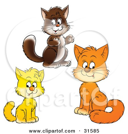 Clipart Illustration of Brown, Yellow And Orange Kitty Cats Looking At The Viewer by Alex Bannykh