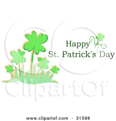 Clipart Illustration of a Happy St Patrick's Day Greeting With A Patch Of Clovers On A White Background by bpearth
