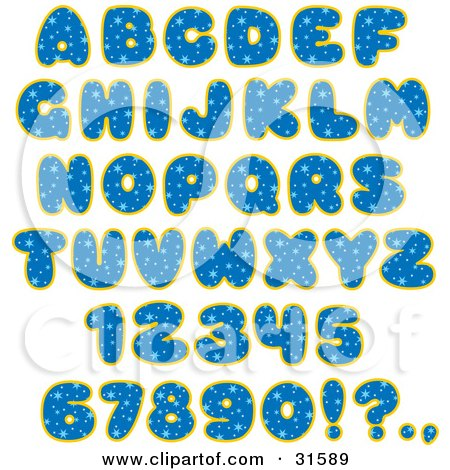 Clipart Illustration of a Font Set Of Blue Starry Patterned Letters, Numbers And Punctuation by Alex Bannykh
