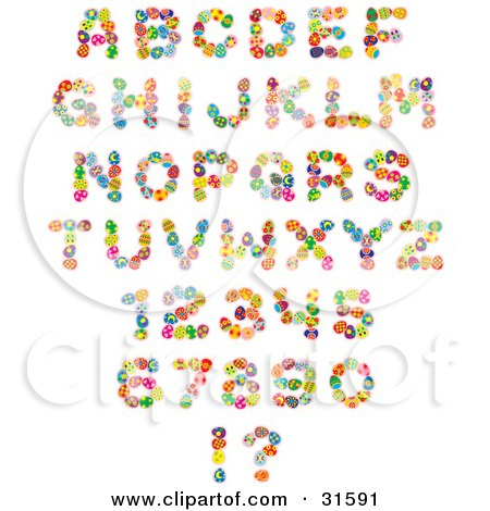 Clipart Illustration of a Font Set Of Colorful Easter Eggs Creating Letters, Numbers And Punctuation by Alex Bannykh