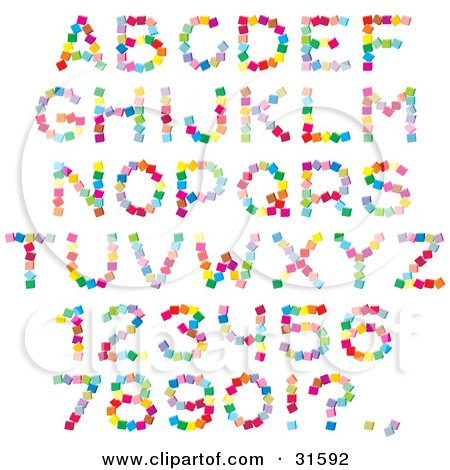 Clipart Illustration of a Font Set Of Colorful Letters, Numbers And Punctuation Made Of Cubes by Alex Bannykh