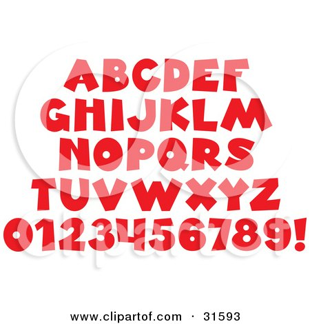 Clipart Illustration of a Font Set Of Red Letters, Numbers And An Exclamation Point by Alex Bannykh